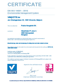 Certification FRAISA ISO 14001:2015 Hungary