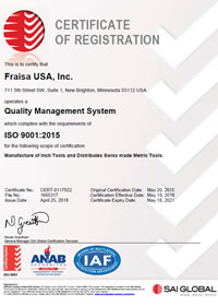Zertifikat ISO Certification 9001:2008 FRAISA USA