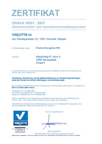 Certification FRAISA OHSAS 18001:2007 Hungary