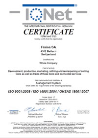 IQNet Certification FRAISA Switzerland