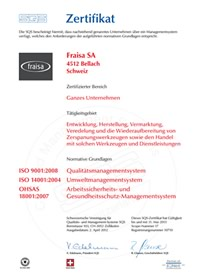 Certification FRAISA Germany