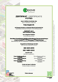 Certification FRAISA ISO 9001:2015 Hungary